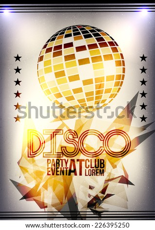 Retro Party Invitation with Sparkling Gold Disco Ball  Poster Design  - Vector Illustration - stock vector