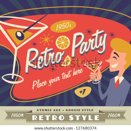 Retro party poster - stock vector