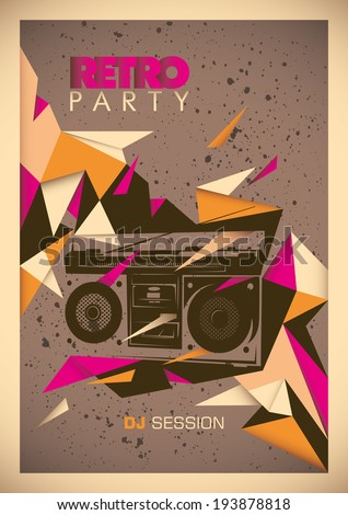 Retro party poster with abstract design. Vector illustration. - stock vector