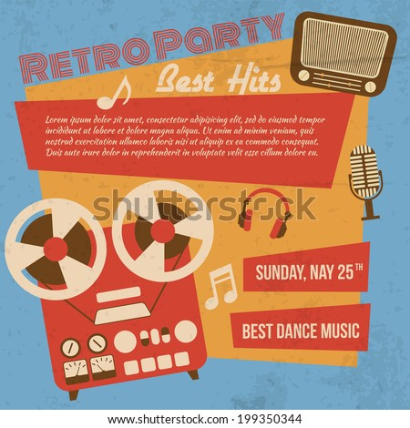 Retro party poster with reel to reel tape recorder vector illustration - stock vector