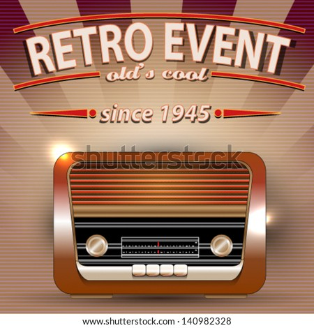 Retro Party poster with Vintage Radio - stock vector