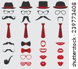 Retro Party set - Glasses, hats, lips, mustaches, ties and pipe - for design, photo booth, scrapbook in vector - stock vector