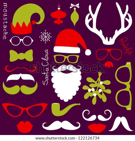Retro Party set - Santa Claus beard, hats, deer antlers, bow, glasses, lips, mustaches - stock vector