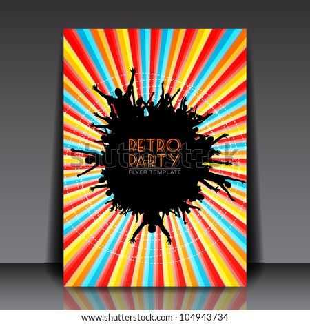 Retro Party Vector Flyer Template - EPS10 Design - stock vector