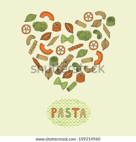 retro pasta card - stock vector