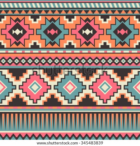 Retro Pastel Multicolor Tribal Seamless Pattern Stock Photo (Photo ...