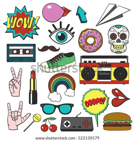 Retro Patch Badges Set Collection Cartoon Stock Vector 522130579 Shutterstock