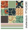 Retro Patchwork Vector Patterns.  Use to create retro backgrounds and fabric pieces with a modern twist.  Ideal for quilting and fabric projects. - stock vector