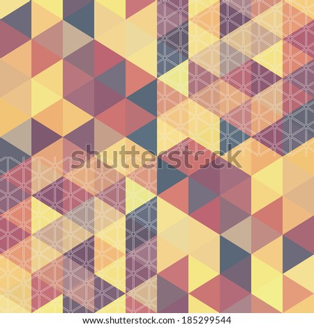 Retro pattern o? hexagon shapes. Geometric retro background. place for your text on the top. Colorful mosaic triangle banner.