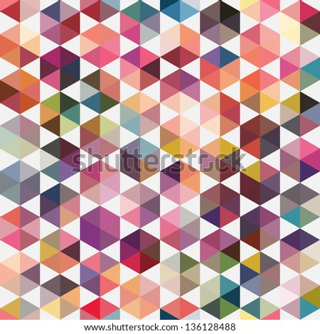 Retro pattern of geometric shapes. Colorful mosaic backdrop. Geometric hipster retro background, place your text on the top of it. Retro triangle background. - stock vector