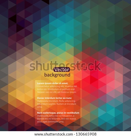 Retro pattern of geometric shapes. Colorful-mosaic-banner. Geometric hipster retro background with place for your text. Retro triangle background - stock vector