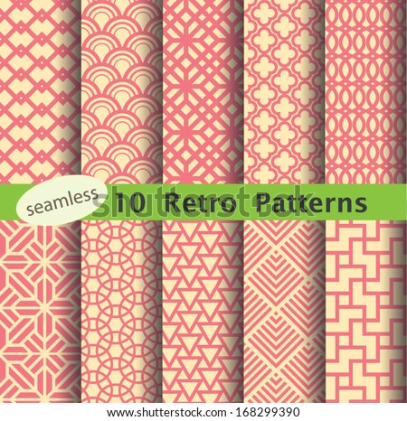 retro pattern's unit collection for making seamless background - stock vector