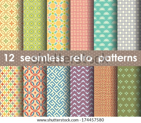 retro pattern units collection for making seamless backgrounds - stock vector