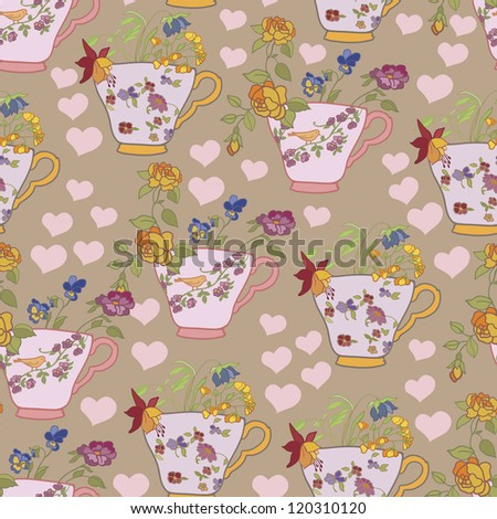 Retro pattern with cups and flowers   background, wallpaper, fabric - stock vector