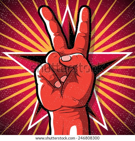 Retro Peace Hand Sign. Great illustration of Retro Style Peace Hand Sign gesturing positive Peaceful Vibes.   - stock vector