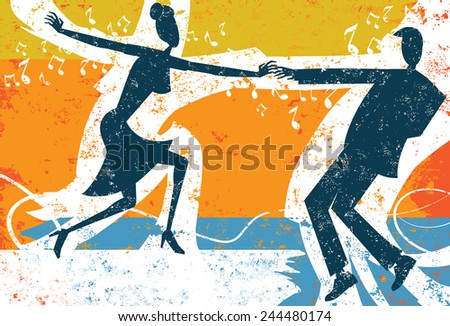 Retro people dancing A retro styled couple dancing over an abstract background. The dancers and the background are on separate labeled layers. - stock vector