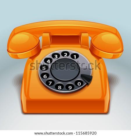 retro phone icon - stock vector