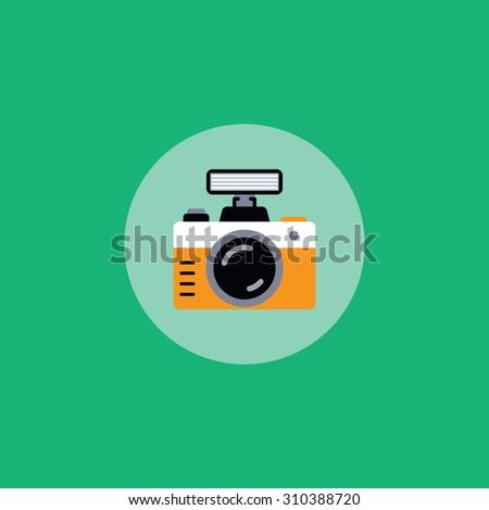 retro photo camera - stock vector