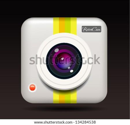 Retro photo camera icon - stock vector