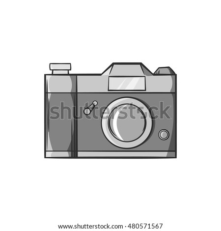 Retro photo camera icon in black monochrome style isolated on white background. Shooting symbol vector illustration