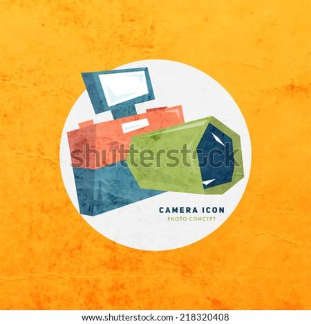 Retro Photo Camera Vector Icon  - stock vector