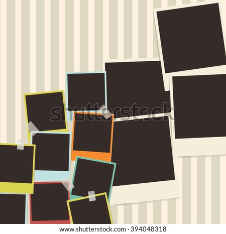 retro photo composition with adhesive tape - stock vector