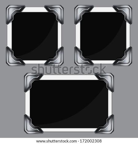 Retro photo frame in vintage photo corners  - stock vector