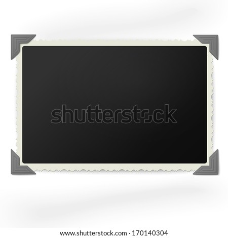 Retro photo frame in vintage photo corners isolated on white background - stock vector