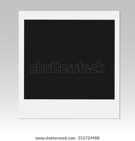 Retro photo frame isolated on gray background, vector illustration - stock vector