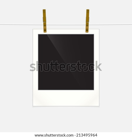 Retro photo frame on rope, vector illustration