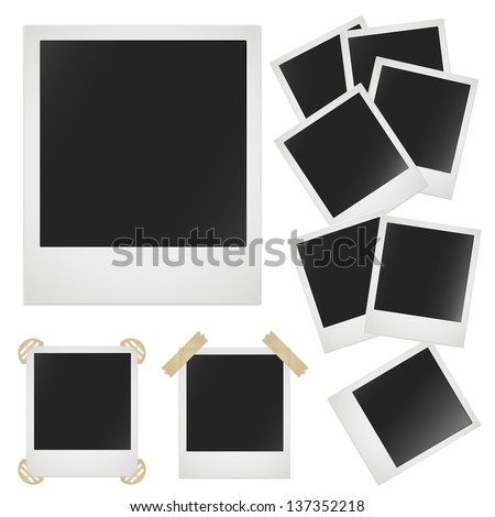 Retro photo frame on white background. Vector image - stock vector