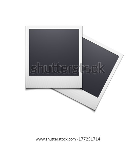 Retro photo frame polaroid isolated on white background, vector illustration - stock vector