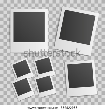 retro photo frame set. transparent background isolated vector - stock vector