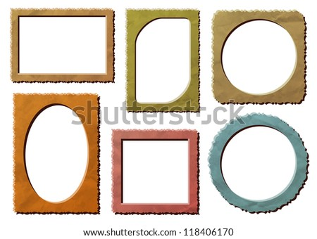 Retro photo frames on crumpled paper. EPS 10 blending mode multiply used - stock vector