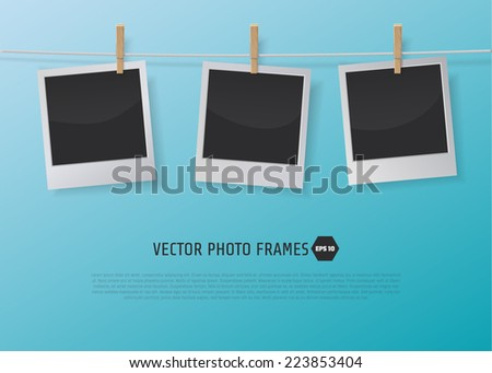 Retro Photo Frames on Rope with clothespins. Vector illustration on a blue background. - stock vector