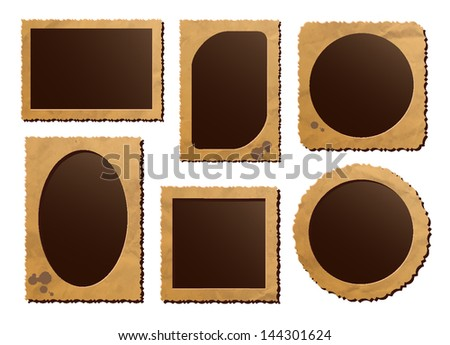 Retro photo frames on white background. EPS10 blend mode used - stock vector