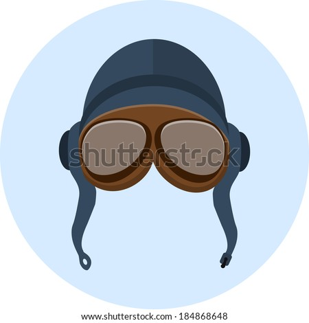 Retro pilot helmet  and goggles - stock vector