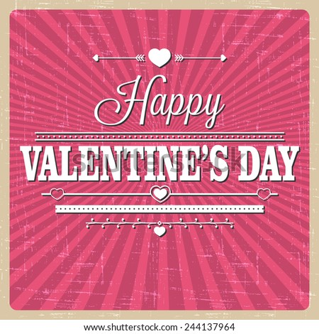 Retro pink background for Valentine's Day. Vector illustration - stock vector
