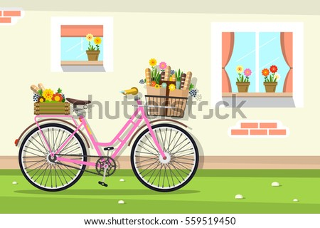 retro pink bicycle house wall windows stock vector 559519450 rh shutterstock com Bicycle Silhouette Clip Art Bike Riding Clip Art