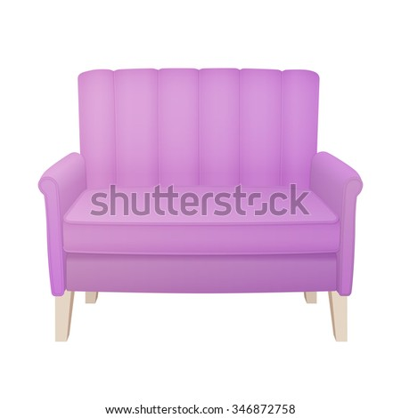 retro pink sofa with long legs - stock vector