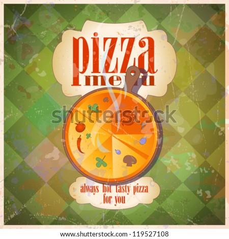 Retro pizza menu card design template. Eps10. - stock vector