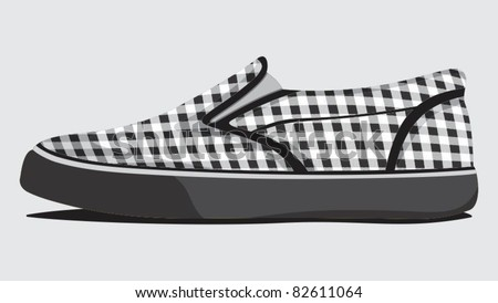 Retro plaid summer shoes - stock vector
