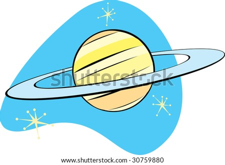 Retro Planet Saturn is part of a complete set of Solar System planet for download. - stock vector