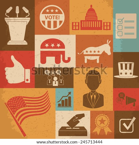 Retro political election campaign icons set. Vector illustration - stock vector
