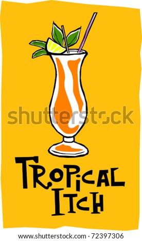 Retro Polynesian Tropical Itch Tiki Cocktail Drink Vector Illustration - stock vector