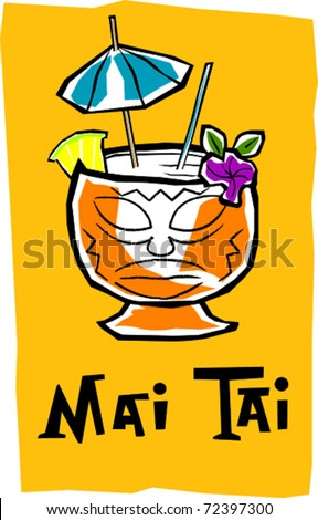 Retro Polynesian Tropical Mai Tai Tiki Cocktail Drink Vector Illustration - stock vector