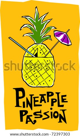 Retro Polynesian Tropical Pineapple Passion Tiki Cocktail Drink Vector Illustration - stock vector