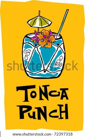 Retro Polynesian Tropical Tonga Punch Tiki Cocktail Drink Vector Illustration - stock vector
