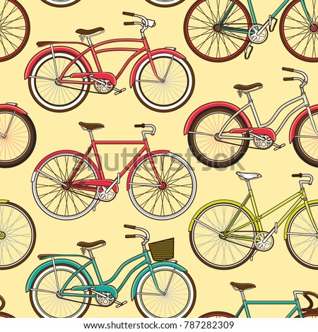 Retro Pop And Vintage Bicycle Bike Seamless Pattern Wallpaper Background