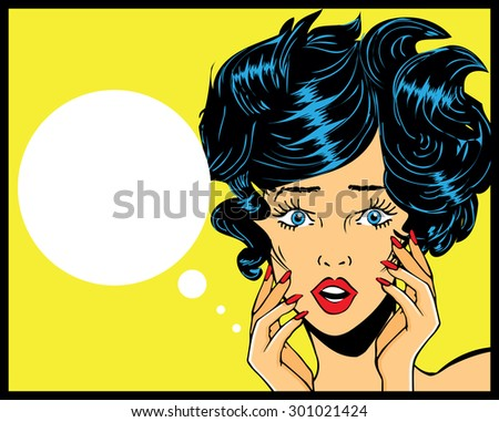 Retro Pop Art illustration of woman with the speech bubble.Pop Art girl Vintage advertising poster comic woman with speech bubble